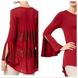 NWOT Burgundy Bell Sleeve Lace Tunic Top Size M